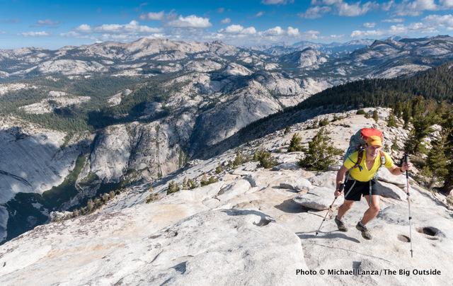Todd Arndt backpacking over Clouds Rest, Yosemite National Park.