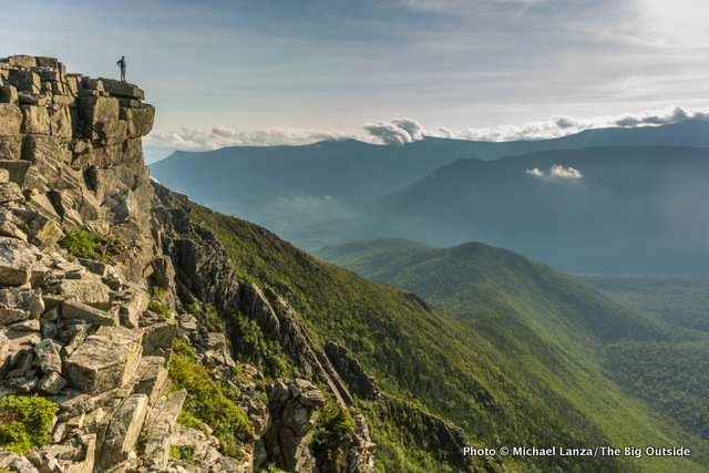 Hiking over Bondcliff on the Pemi Loop in New Hampshire's White Mountains.