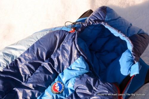 Big Agnes Storm King 0 sleeping bag hood.