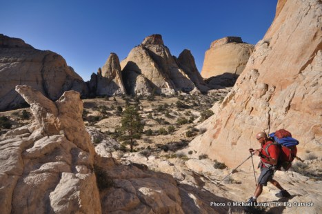 David Gordon on the Beehive Traverse in Capitol Reef.
