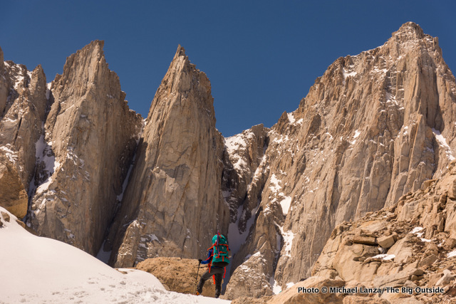 My son, Nate, approaching our high camp climbing Mount Whitney.