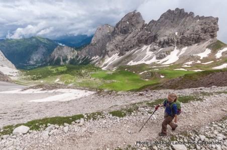 Hiking to Forca Rossa, Alta Via 2, Dolomite Mountains, Italy.