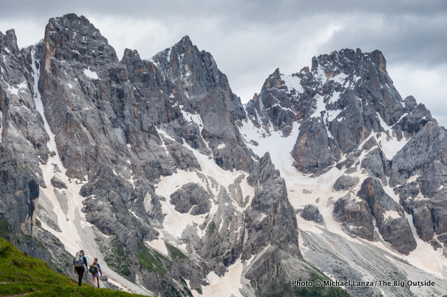 My family trekking toward the Pale di San Martino in Italy's Dolomite Mountains.