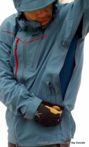 Outdoor Research Skyward Jacket side zip.