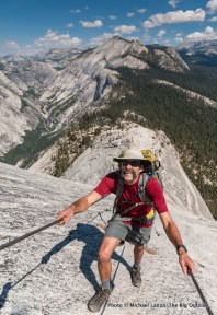 Hiking Half Dome's cable route.