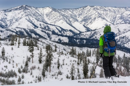 Backcountry skiing, Boise Mountains, Idaho.