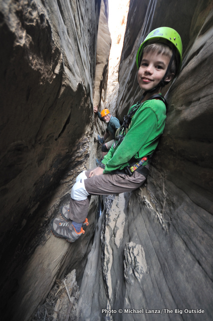 Nate canyoneering in Capitol Reef National Park.