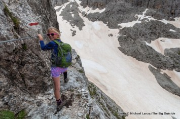Alex trekking the Alta Via 2 in Italy's Dolomite Mountains.
