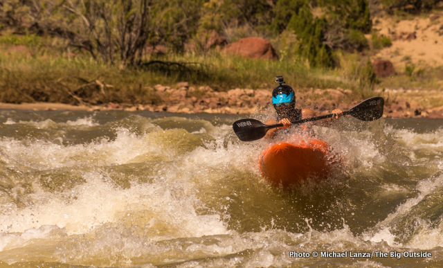 Joe Lovelace kayaking Upper Disaster Falls, Lodore Canyon.