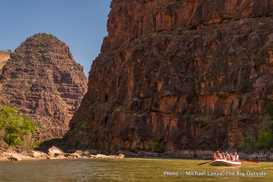 Rafters floating the Gates of Lodore section of the Green River through Dinosaur National Monument.
