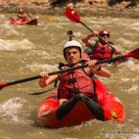 Marco kayaking Split Mountain Canyon.