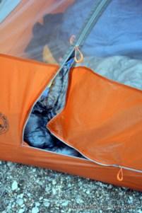 Big Agnes Copper Spur HV UL2 door zipper.