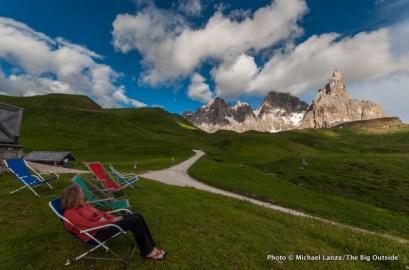 Outside Rifugio Capanna Cervino, Parco Naturale Paneveggio Pale di San Martino, Dolomite Mountains, Italy.