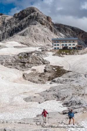 Trekking the Alta Via 2 from Rifugio Rosetta, Dolomite Mountains, Italy.