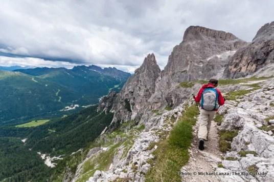 The Alta Via 2 near Ball Pass, Parco Naturale Paneveggio Pale di San Martino, Dolomite Mountains, Italy.