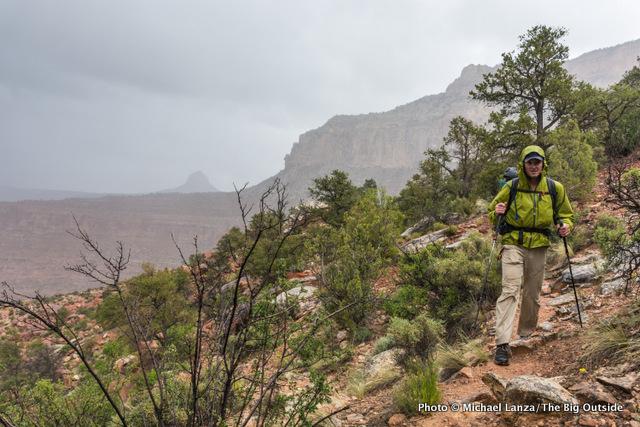 Jon Dorn wearing an ultralight rain shell on the Grand Canyon's Royal Arch Loop.