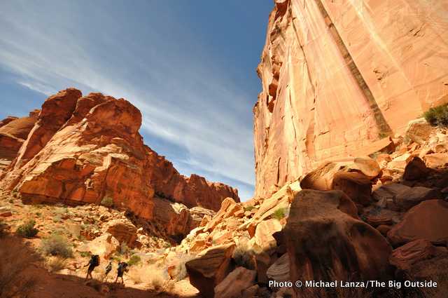 Backpackers in Chimney Rock Canyon, Capitol Reef National Park.