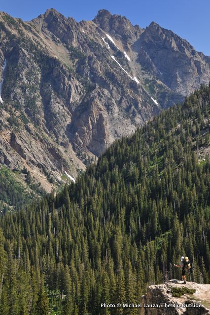 A backpacker in the South Fork Cascade Canyon, Grand Teton National Park.
