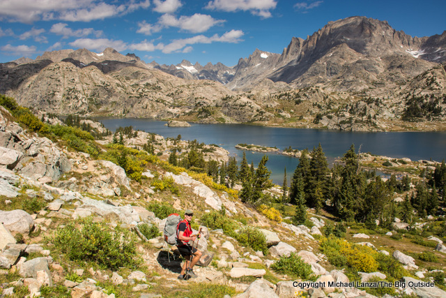 A backpacker above Island Lake in Wyoming's Wind River Range.