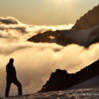 Sunset from the Dome Glacier on the Ptarmigan Traverse, Glacier Peak Wilderness.