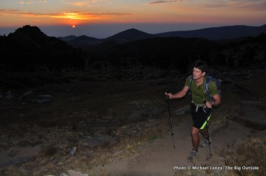 Todd Arndt hiking at dawn in the Wind River Range, Wyoming.