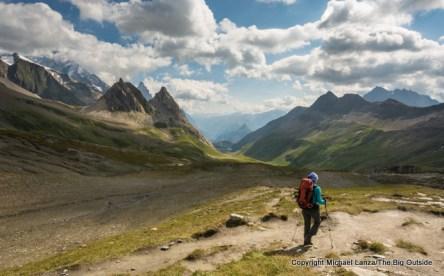 Crossing the Col de la Seigne into Italy on the Tour du Mont Blanc.