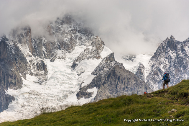 Hiking high above the Val Veny on the Tour du Mont Blanc.
