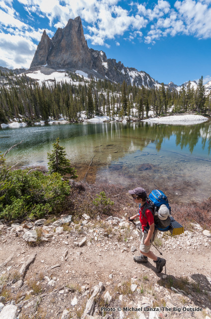Backpacking Trail 95 below El Capitan in Idaho's Sawtooth Mountains.