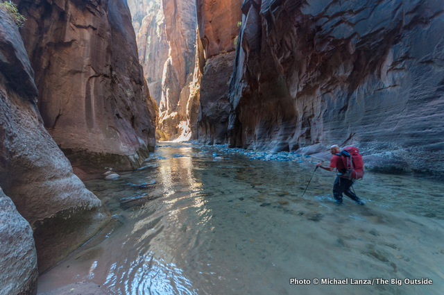 Backpacking The Narrows in Zion National Park.