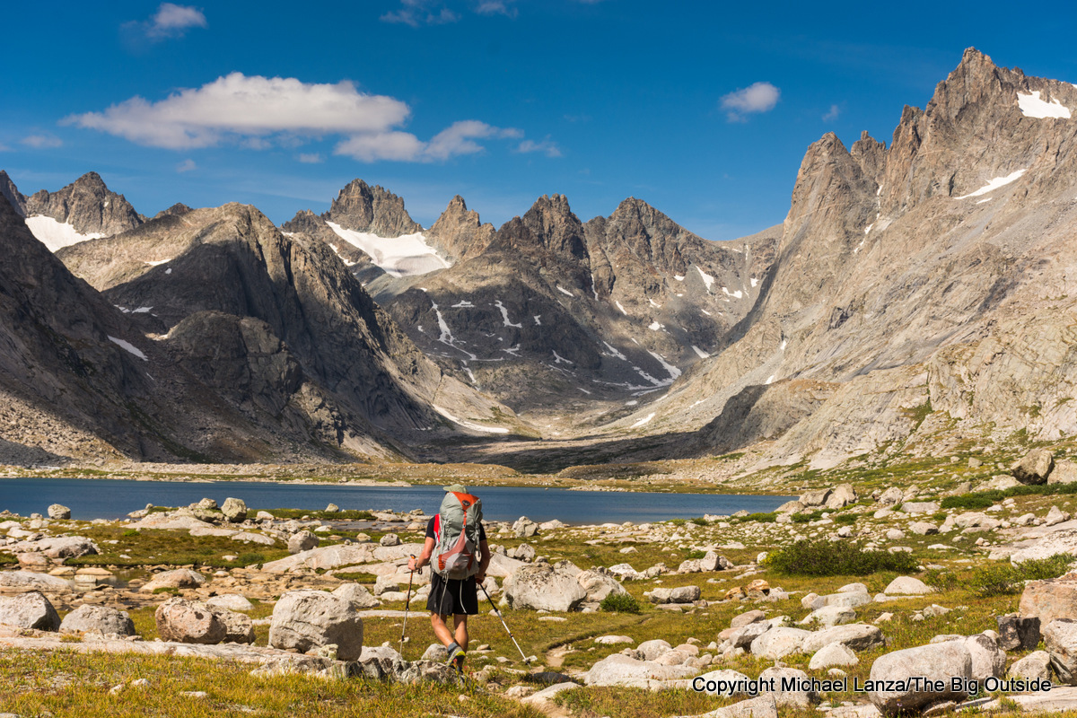 Backpacker in Titcomb Basin, Wind River Range, Wyoming.