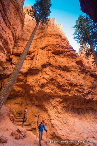 A hiker on the Navajo Loop in Bryce Canyon National Park.