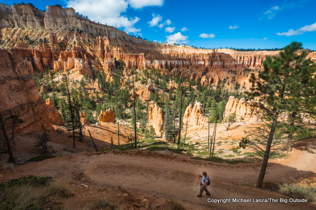 A hiker on the Peekaboo Loop, Bryce Canyon National Park.