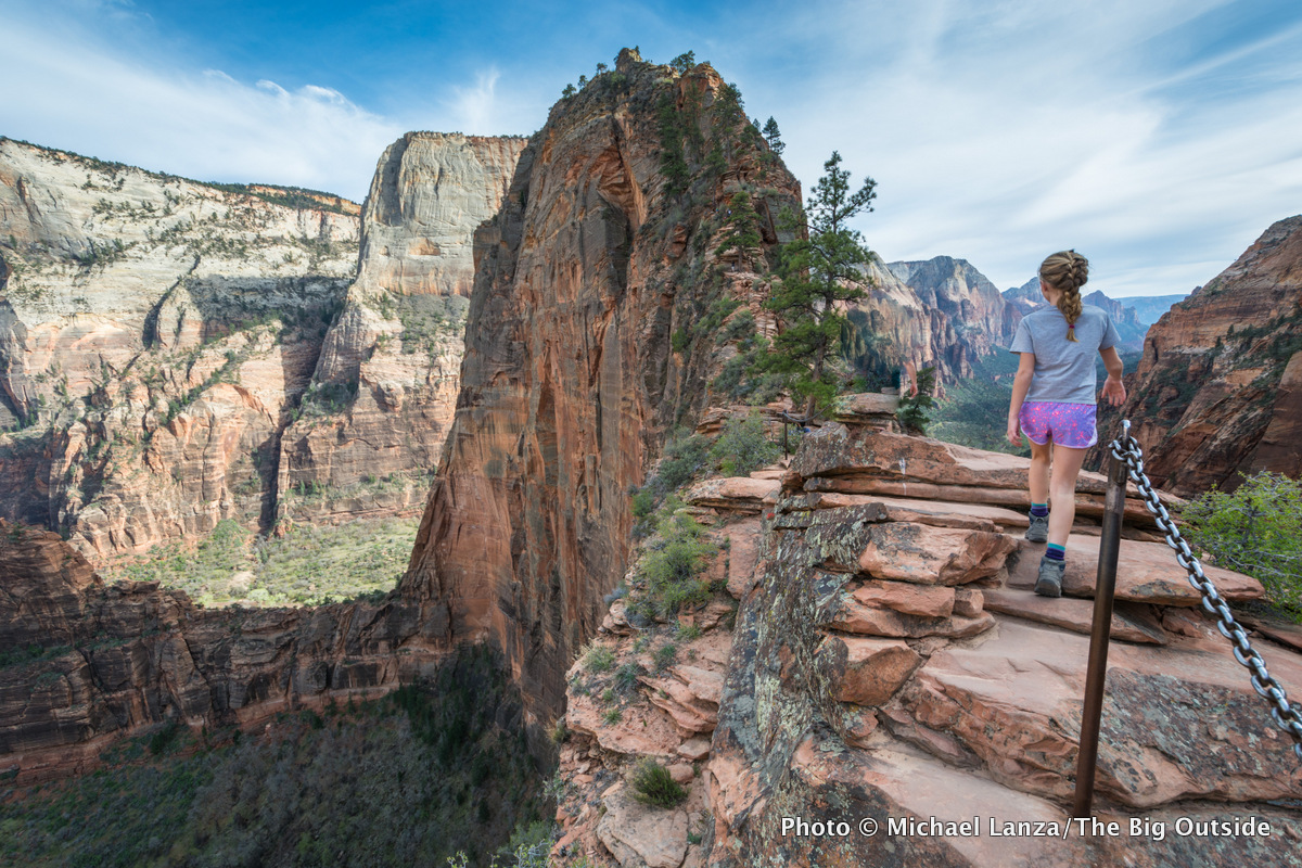 A young girl hiking Angels Landing, Zion National Park.