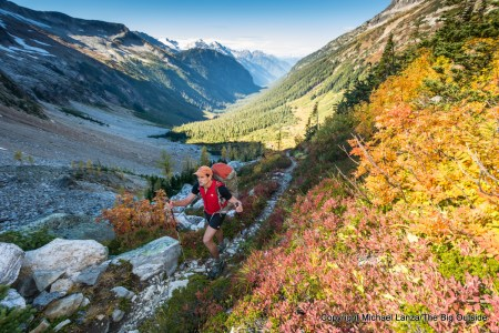 A backpacker near Park Creek Pass in North Cascades National Park.