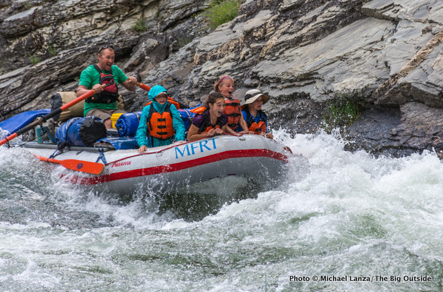 Rafters in Cliffside Rapid, Middle Fork Salmon River, Idaho.