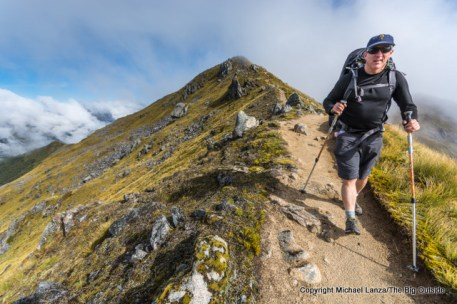 Hiking the Kepler Track above Hanging Valley shelter, Fiordland National Park.