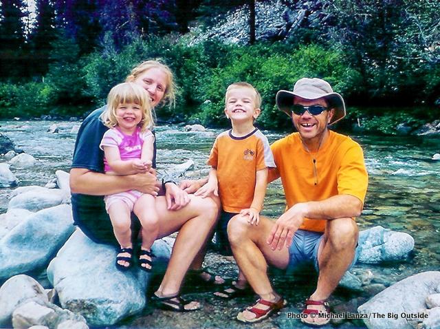 Young family at Skillern Hot Springs, Smoky Mountains, Idaho.