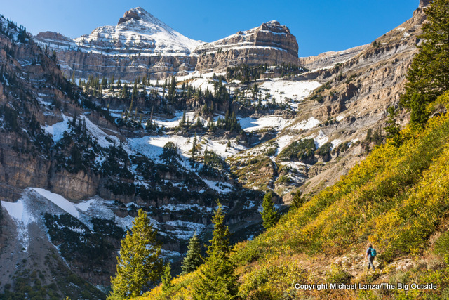 Hiking Mount Timpanogos in Utah's Wasatch Range.