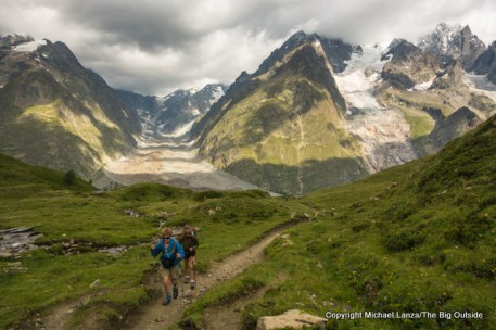 Mom and Alex hiking to Courmayeur, Italy, on the Tour du Mont Blanc.