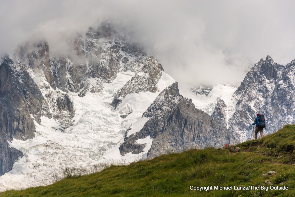 A trekker on the Tour du Mont Blanc.