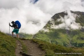 Fiona above Courmayeur on the Tour du Mont Blanc, Italy.