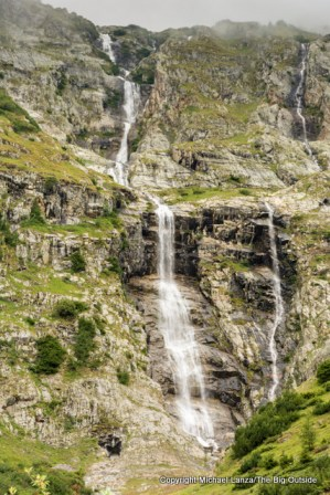 Waterfall, Tour du Mont Blanc, Val Ferret, Switzerland.