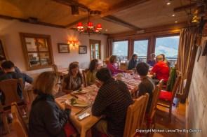 Dinner in Hotel Alpina, Tour du Mont Blanc, Champex-Lac, Switzerland.