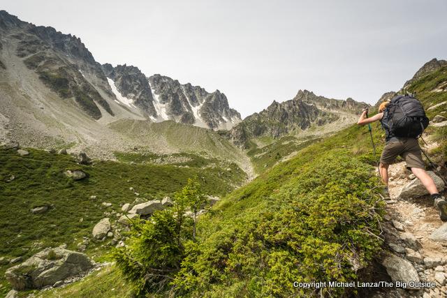 Nate trekking to the Fenetre d'Arpette, Tour du Mont Blanc, Switzerland.