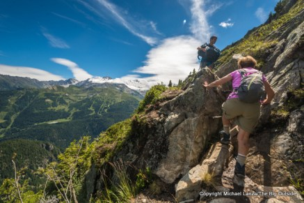 Marco and his grandmother hiking from Emosson dam to Le Buet, Switzerland.