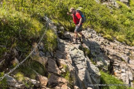 Jeff Wilhelm hiking from Emosson dam to Le Buet, Switzerland.