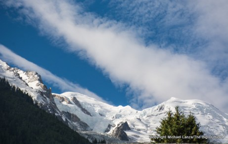 Mont Blanc seen from Chamonix, France.