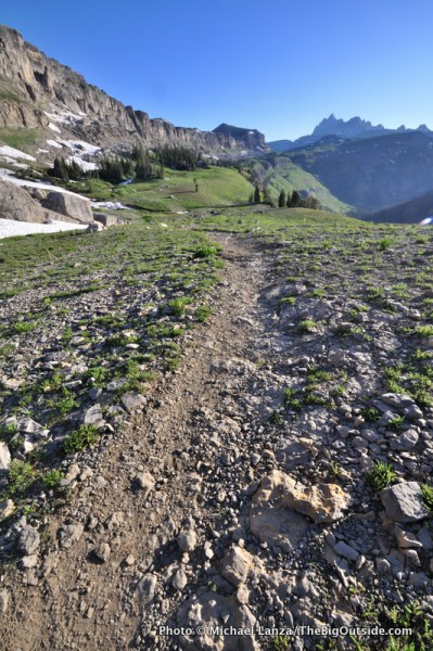 The Teton Crest Trail on Death Canyon Shelf in Grand Teton National Park.