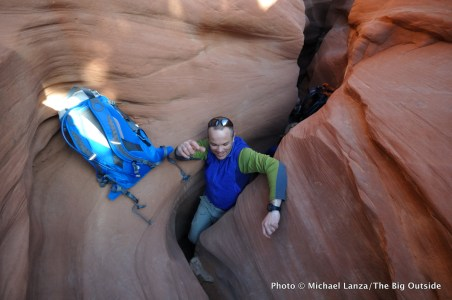 Michael Lanza of The Big Outside hiking Peek-a-Boo Gulch in Grand Staircase-Escalante National Monument, Utah.