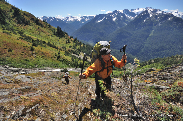 Backpackers in the northern Bailey Range, Olympic National Park.